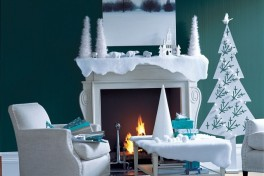 A roaring fire and super stylish decorations