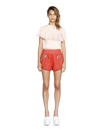 THREE FLOOR Very Glaston-Berry Shorts popped with pearly embellishment