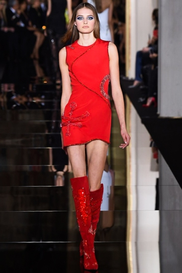 Versace Spring Summer 15 Couture Sheath Dress peppered with embellishment