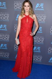 Emily Blunt wears a red sparkly number by Emilio Pucci to the 20th Critics Choice Movie Awards