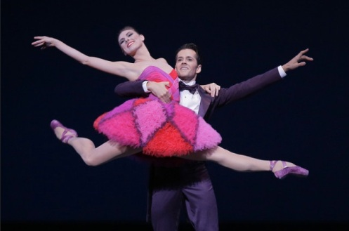 """New York City Ballet's Tiler Peck and Robert Fairchild in costumes by Valentino for Peter Martins' """"Not My Girl"""""""