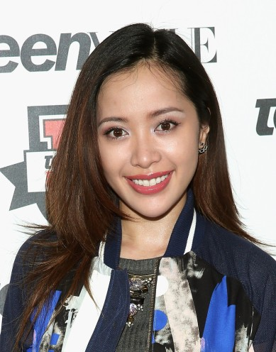 Michelle Phan rocking THREE FLOOR's Time After Time Jacketat Teen Vogue's Fashion University event - Close up