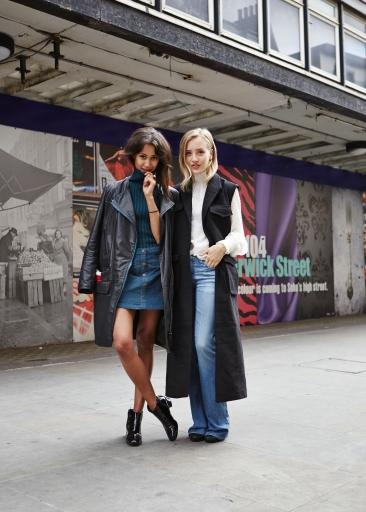 Fenn O'Meally wears Three Floor AW15 Orion's Belt jumper and Sarah Mikaela wears Three Floor Pre-Fall Obsidian Gilet