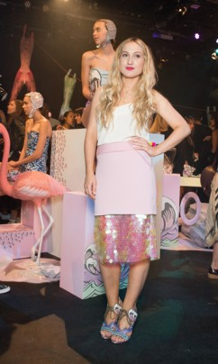 Sophia Webster wears Three Floor SS15 Dreamcatcher Skirt to her LFW collection presentaion